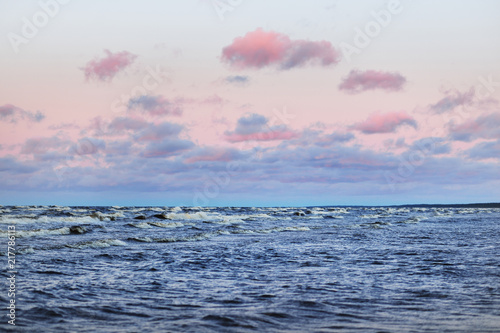 A colorful winter sunset in the open Baltic sea