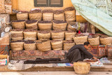 Traditional egyptian bazaar with herbs and spices in Aswan, Egypt. spices bazaar - 217787345