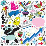 Vector line art Doodle cartoon set of objects and symbols Vol.3