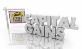 Capital Gains Home for Sale Sign 3d Illustration - 217805102