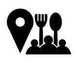 restaurant spot marker black silhouette pin locate path image vector icon logo symbol