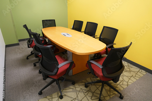 Long Meeting Table And Chairs In The Meeting Room Buy Photos AP - Long meeting table