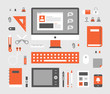 Office Supplies on the desk. flat design style vector graphic illustration set