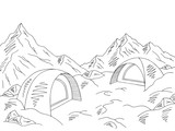 Camping graphic black white snow mountain landscape sketch illustration vector - 217818173