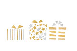 Gold and silver glitter gift boxes paper cut on white background - isolated