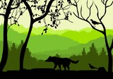 Wildlife nature vector silhouette, forest, trees and wolf silhouette