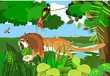 Growling lion walking in jungle vector illustration