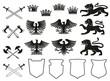Heraldic element of animal, bird, crown and shield