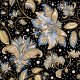 vintage pattern with decorative flowers on a black background - 217821971