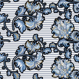 seamless vintage pattern with  decorative blue flowers  - 217821995