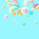 Abstract spheres on blue background, colorful and realistic illustration. Vector design template.