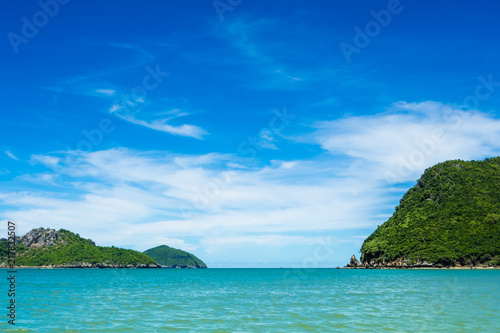 Wide view of sea and the island with blue sky