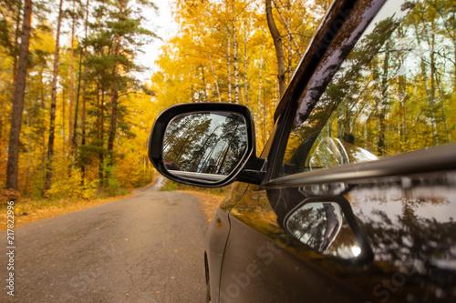 Czarny samochód na drodze w lesie w jesieni