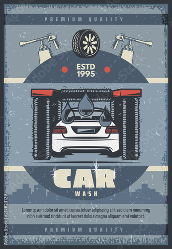 Fridge magnet Car wash service retro poster of vehicle and brush
