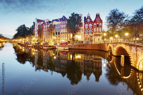 Plakat Amsterdam in Netherlands at night