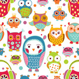 Cute owls. Seamless pattern.