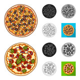 Different pizza cartoon,black,flat,monochrome,outline icons in set collection for design.Pizza food vector symbol stock web illustration.