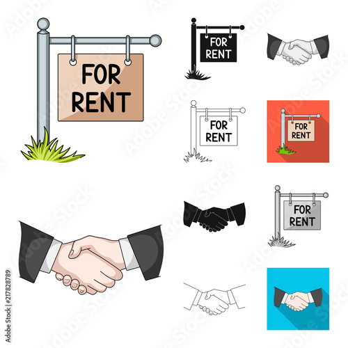 Sticker Realtor, agency cartoon,black,flat,monochrome,outline icons in set collection for design. Buying and selling real estate vector symbol stock web illustration.