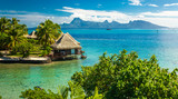 Overwater bungalows with best beach for snorkeling, Tahiti, French Polynesia - 217834109