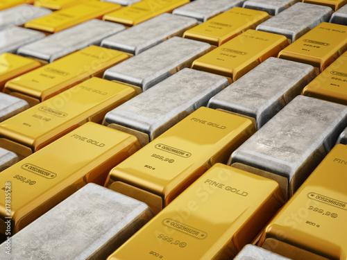 Złoto i srebro wlewki odizolowywający na białym tle. 3D ilustracji