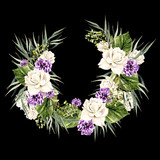 Watercolor Wreath with white  and purple rose.  - 217836727