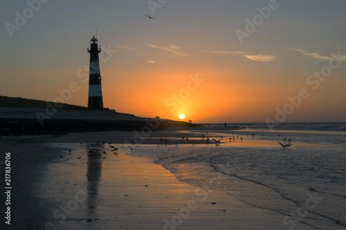 Aluminium Vuurtoren Sonnenuntergang Holland