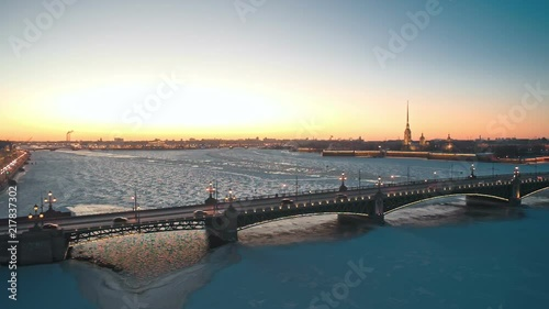 Fototapeta Palace bridge at winter, Saint Petersburg