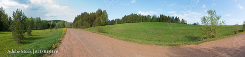 Canvas Zomer Panorama of green fields and forests
