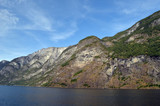 Mountains and fjord. Norwegian nature. Sognefjord. Flam, Norway - 217841711
