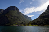 Mountains and fjord. Norwegian nature. Sognefjord. Flam, Norway - 217841752