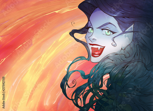 Cartoon anime Halloween illustration of a beautiful charming vampire woman with red lips, sharp teeth, gorgeous black hair and shiny green magic eyes smiling - 217842788