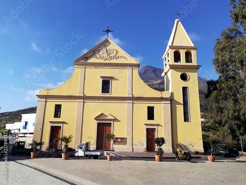 Aluminium Vuurtoren Church San Vincenzo Ferreri (St. Vincent Ferreri), Stromboli village, Sicily, Italy