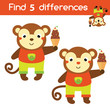 Find the differences educational children game. Kids activity sheet with cartoon monkey - 217847792