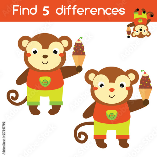 Find the differences educational children game. Kids activity sheet with cartoon monkey
