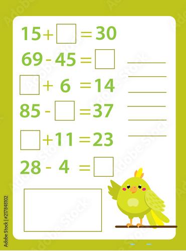 Mathematics worksheet  educational game for children  Learning
