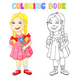 Coloring happy girl isolated