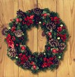 Leinwanddruck Bild - Christmas decorative wreath of holly, mistletoe