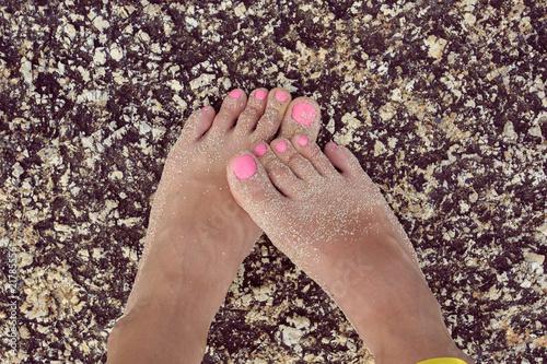 Canvas Pedicure Beautiful feet on stone of Thailand