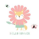 Cute little fox vector illustration. Hello summer cartoon baby animal card
