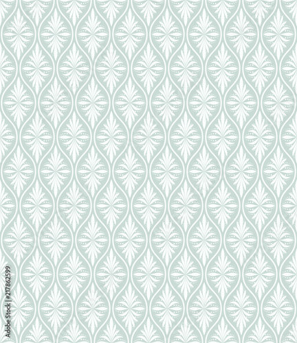 Flower geometric pattern. Seamless background. White and blue ornament - 217862599