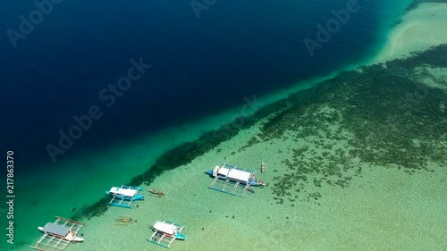 Droneshot of manjuyod sand bar in the Philippines South East Asia