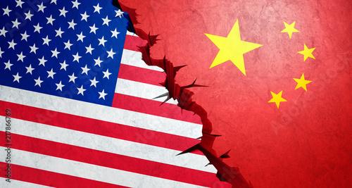Leinwanddruck Bild Handelskrieg USA China