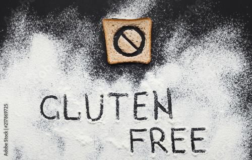 Gluten free inscription on scattered flour