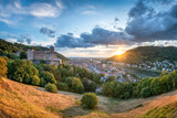 Heidelberg Stadtansicht mit Schloss bei Sonnenuntergang
