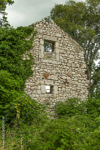 Ruin of an abandoned stone house