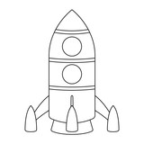 Rocket. Cartoon outline drawing - 217880112