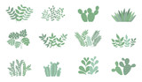 Vector cute collection of house plants. Objects isolated on background, pastel colors