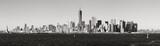 Panoramic Black & White view of Lower Manhattan skyscrapers from New York Harbor. New York City - 217886731