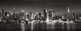 Panoramic Black & White view of Midtown West skyscrapers with the Hudson River. Manhattan, New York City - 217886768