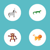Set of zoology icons flat style symbols with lion, donkey, gecko and other icons for your web mobile app logo design.